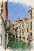 art watercolor background on paper texture with street and channel in Venice, Italy