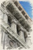 art watercolor background on paper texture of street and detail of buildings in Venice, Italy