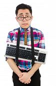 Computer nerd with keyboard isolated on white