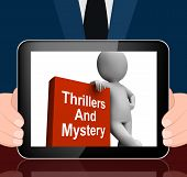Thrillers And Mystery Book With Character Displays Genre Fiction Books
