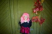 stock photo of traditional attire  - Portrait of cute girl wearing Halloween attire and pink wig looking at camera - JPG