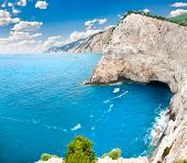 Beautiful panoramic view on cliffs back of Katsiki beach, Lefkada island, Greece.