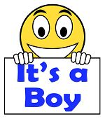 It's A Boy On Sign Shows Newborn Male Baby