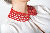 Woman with bow tie,neck accessories.
