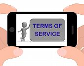Terms Of Service Phone Shows Agreement And Contract For Use