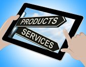 Products Services Tablet Shows Business Merchandise And Service