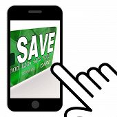 Save Bank Card Displays Savings Account And Money Reserves