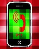 Nine One On Phone Displays Call Emergency Help Rescue 911