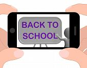 Back To School Phone Shows Learning And Stationery Supplies