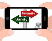Insanity Sanity Signpost Displays Sane Or Insane