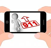 Running Character And 911 Nine One Displays Emergency Help Rescue
