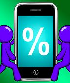 Percent Sign On Phone Displays Percentage Discount Or Investment