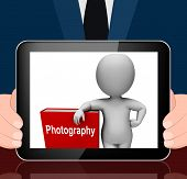 Photography Book And Character Displays Take Pictures Or Photograph