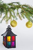Decorative Lantern And Fur-tree Branch With Christmas Balls