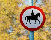 Road sign with horse patrol icon