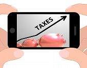 Taxes Arrow Displays Higher Taxation And Levies