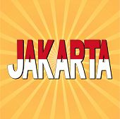 Jakarta flag text with sunburst vector illustration