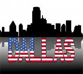 Dallas skyline reflected with American flag text vector illustration