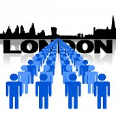 Lines of people with London skyline vector illustration