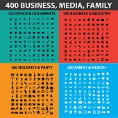 400 business, media, family black icons, signs, illustrations, objects set, vector