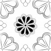 Black & White Art Deco Stylized Flower