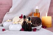 Composition with spa treatment on cloth background