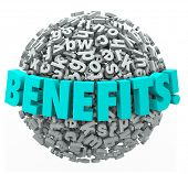 Benefits word in 3d letters on a ball or sphere illustrating the many rewards, bonuses or compensati