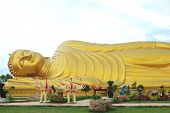 image of recliner  - Golden Reclining Buddha in Wat Lham Por - JPG