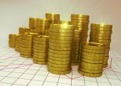 golden piles of coin on financial graph