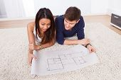 Couple Looking At Blueprint While Sitting On Rug