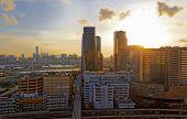 Sunset in downtown city, hong kong