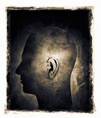 Grainy and gritty image of a man's head with ear in spotlight.
