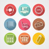 Flat vector icons for internet retail service