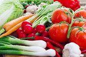 Fresh vegetables on kitchen board