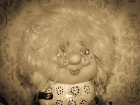 image of yesteryear  - vintage yesteryear old kids doll with vignetting - JPG