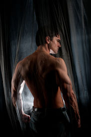 picture of paranormal  - the sexy hero stands with back to the camera - JPG