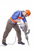 pic of hammer drill  - worker with pneumatic hammer drill equipment isolated on white - JPG