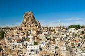 stock photo of chimney rock  - Monumental ancient Ortahisar castle in Cappadocia - JPG