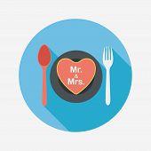 Wedding Dishware Flat Icon With Long Shadow,eps10