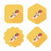 Birthday Party Dishware Flat Icon With Long Shadow,eps10