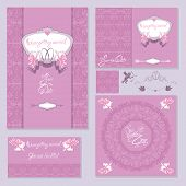 Set Of Wedding Invitation Cards With Floral Elements, Angels, Wedding Rings, Handwritten Calligraphi