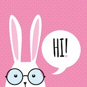 stock photo of greeting card design  - Greeting card with with white Easter rabbit - JPG