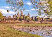 Angkor Wat temple reflecting in lake with flowers