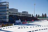 SOCHI, RUSSIA - MARCH 7, 2013: The combined ski-biathlon complex