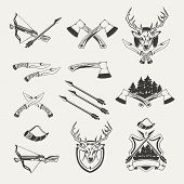 Set of hunt emblems, badges, labels and designed elements