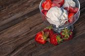 Ice Cream With Strawberries And Whipped Cream
