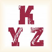 Grunge vector K, Y & Z letters