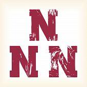Grunge vector N letter