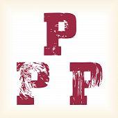 Grunge vector P letter