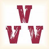 Grunge vector V letter - vector type alphabet - slab serif font